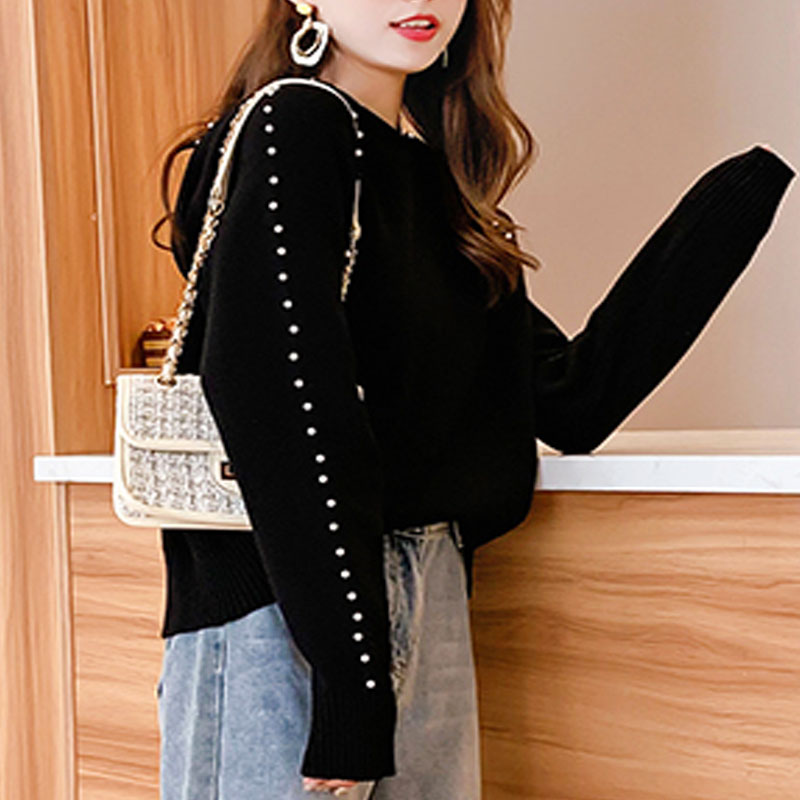 2019 Autumn/winter Women Sweaters Computer Knitted Casual Hooded Pullovers Beading Solid Women Sweaters and Pullovers 5194 50 28
