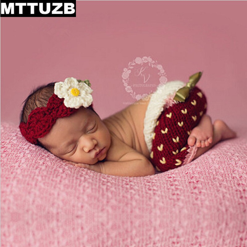 MTTUZB Newborn cute fashion Strawberry style Crochet Costume baby boys girls Photography Prop children accessories infant suit