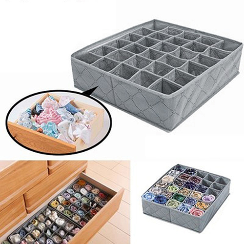 Non-woven Fabric Foldable Underwear Socks Drawer Organizer Storage Box Useful 30 Cells Container Boxs(China)