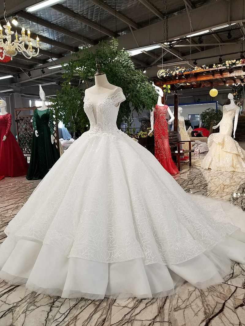 LS01480 свадебное платье кружевные цветы2018 Роскошное платье мантии венчания платья венчания мантии шарика мантии шнурка вверх по-разному bridal мантия венчания с длинней поезд и отбортовывать