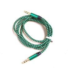 1m Nylon Jack Audio Cable 3.5 mm to 3.5mm Aux Cable Male to Male Kabel Gold Plug Car Aux Cord for iphone Samsung xiaomi Hot(China)