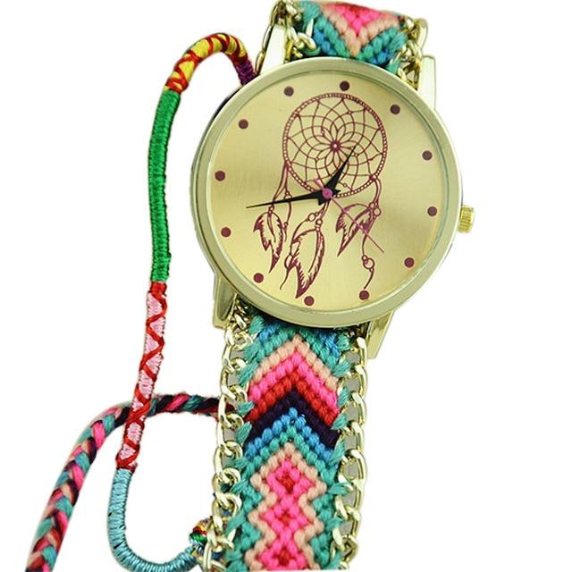 Multicolor Dreamcatcher Friendship Women Bracelet Watches Women Fabric Braid Dre