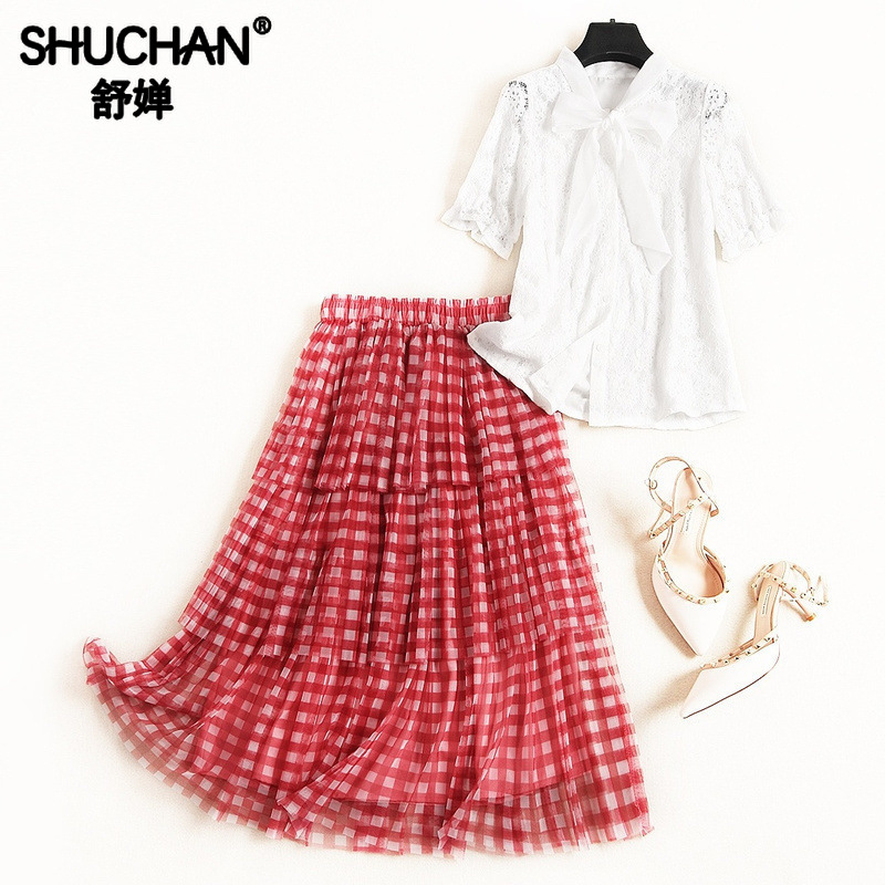 Shuchan Women Two Piece Outfits  Lace Shirt With Short Sleeve+Plaid Skirts Ensemble Femme Summer Clothes For Women 2019 51237