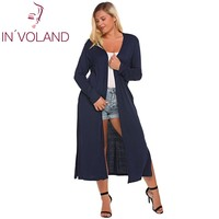 IN'VOLAND Big Size 5XL Women Long Cardigan Sweater Casual Autumn Long Sleeve Solid Open Front Side Split Pockets Coat Plus Size