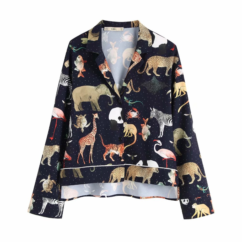 2019 Women Za Style animal printed causal sleep style blouses za tunic Shirt Cotton Womens Camisa loose Blusas Feminina Blouse(China)