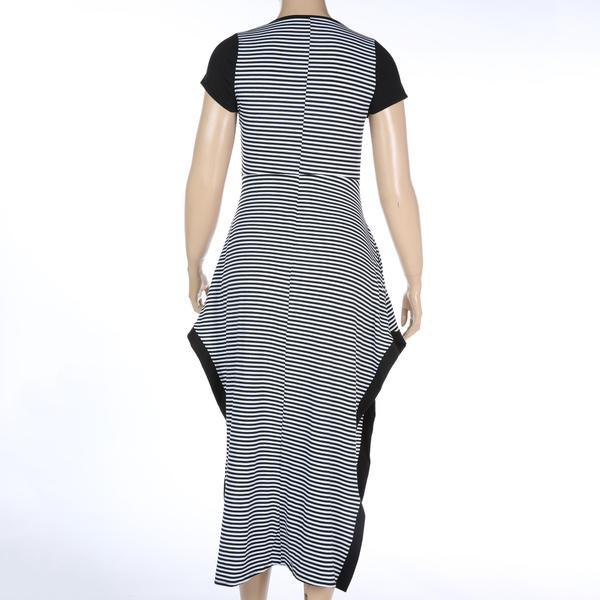 Woman dress Summer casual black and white stripe split dresses plus size