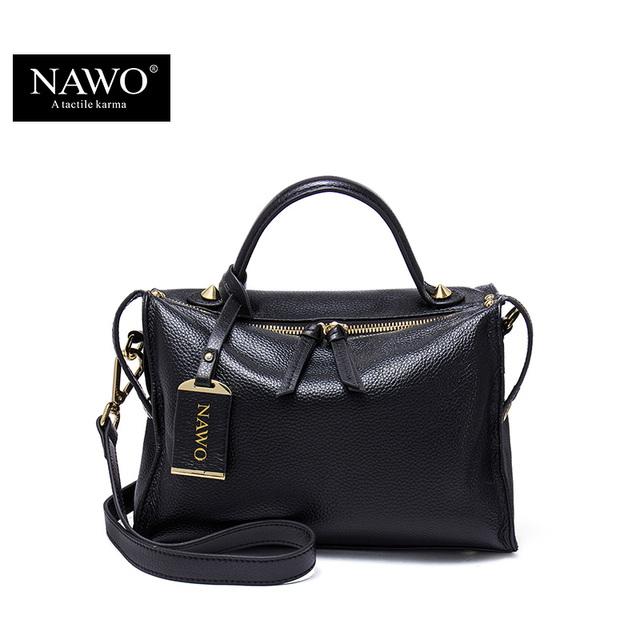 NAWO Zipper Women Genuine Leather Messenger / Shoulder Bag Ladies