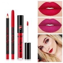 2019 Non-stick Cup Lip Glaze + Lip Liner Combination Matter Pencil Tint Tattoo Stain Makeup Waterproof Nude Pen Lip Gloss цена