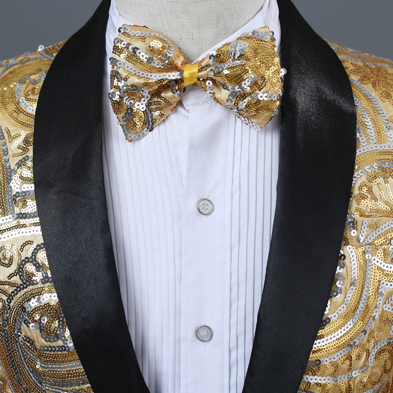 Image 5 - PYJTRL Mens Pink Gold Flower Sequins Fancy Paillette Wedding Singer Stage Performance Suit Jacket Annual DJ Blazer With Bow Tie-in Blazers from Men's Clothing
