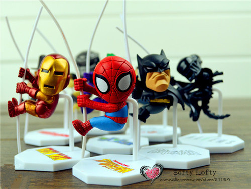 Free shipping N-E Mini figures cord cable decorate Scalers Spider Bat Iron hero Alien Predat Joker Fred Ja-son man ca gifts