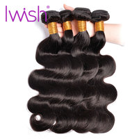 Iwish Hair Peruvian Body Wave Bundles 100% Human Hair Extensions 10 28inch 1/3/4Pcs Non Remy Hair Weaving Natural Color