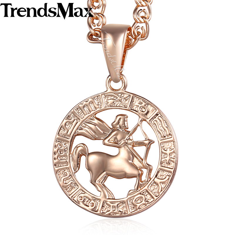 Sagittarius 12 Zodiac Sign Constellation Womens Necklace 585 Rose Gold Color Pendant Necklace For Women Men Gift Jewelry KGP181