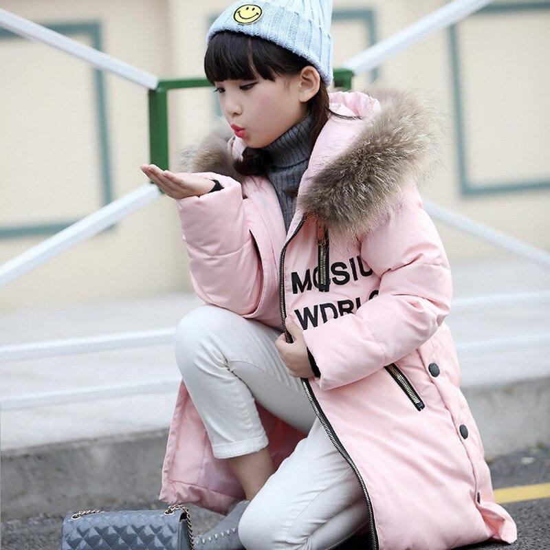 80de767b345 Мода 2017 г. девушки Пух Куртки зимние детские пальто для российской погоды  плотная теплая куртка на утином пуху для мальчиков и девочек детская  верхняя ...
