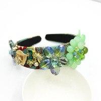 Novos Encantos Do Vintage Barroco Abacaxi Verde Cabeça Faixa de Cabelo de Cristal da Nota Musical Rhinestone Crown Cabelo Jóias Cocar 175