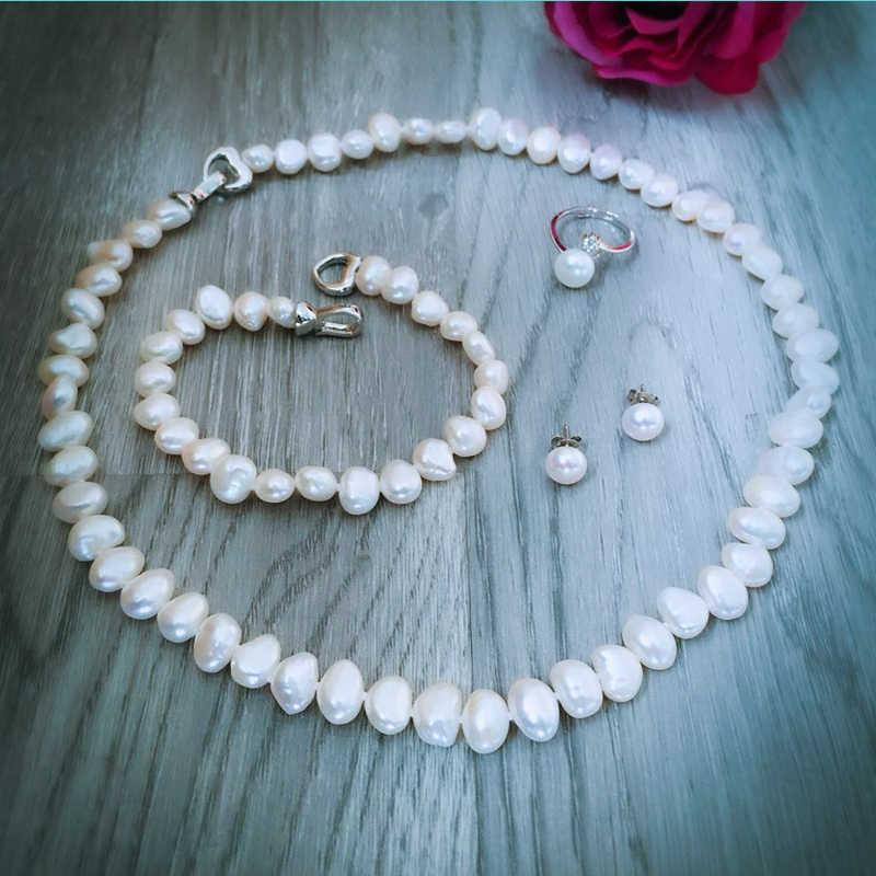 PRESALE DAIMI מדהים פרל סטי 5 פריטים חליפה אחת, שרשרת צמיד צמיד טבעת עגילי לאישה חג המולד מתנה ערך מתנה
