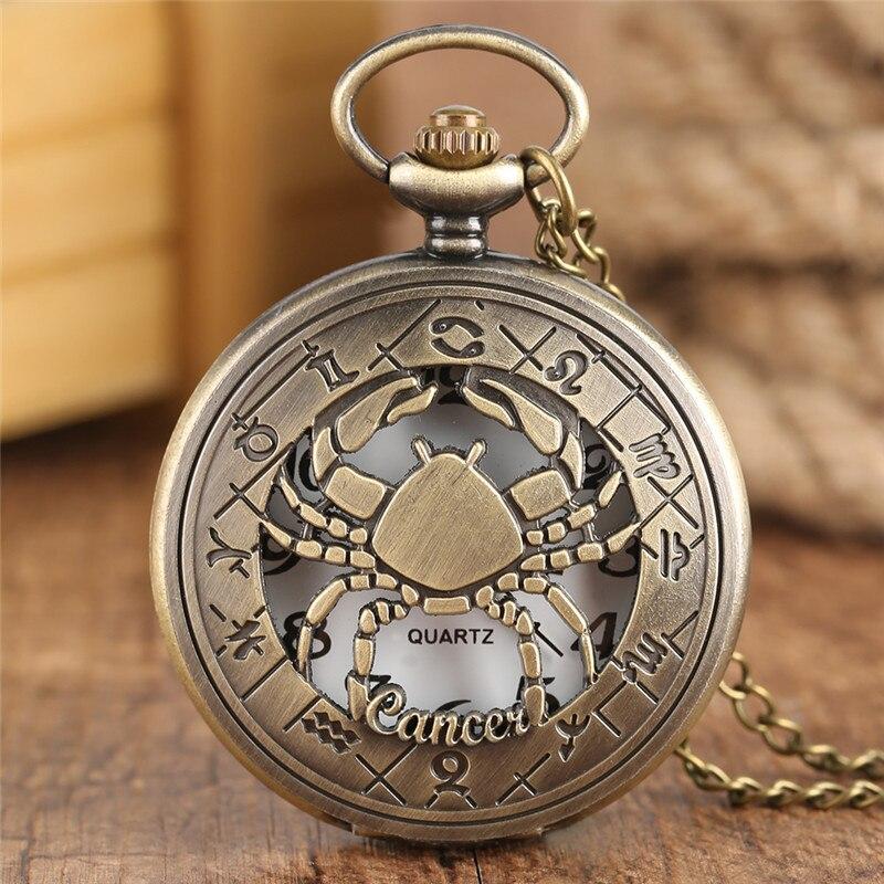 Twelve Constellations Cancer Crab Bronze Hollow Quartz Pocket Watch Pendant Necklace Mens Womens Watch Chain Boys Girls Gift