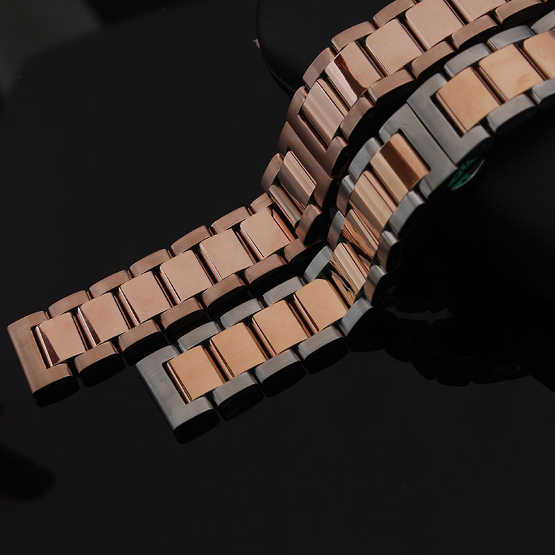 Polished Solid Stainless Steel Watchband butterfly clasp Metal Wristwatches Band Mixed rose gold silver 18mm 20mm 21 22mm23 24mm dull polished mixed beaded bracelet