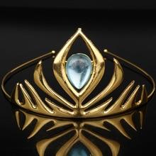 Moda Elsa D película azul y dorado cristal nupcial pequeña corona Tiaras peinetas regalos de navidad mujeres accesorios para el cabello de boda para novia