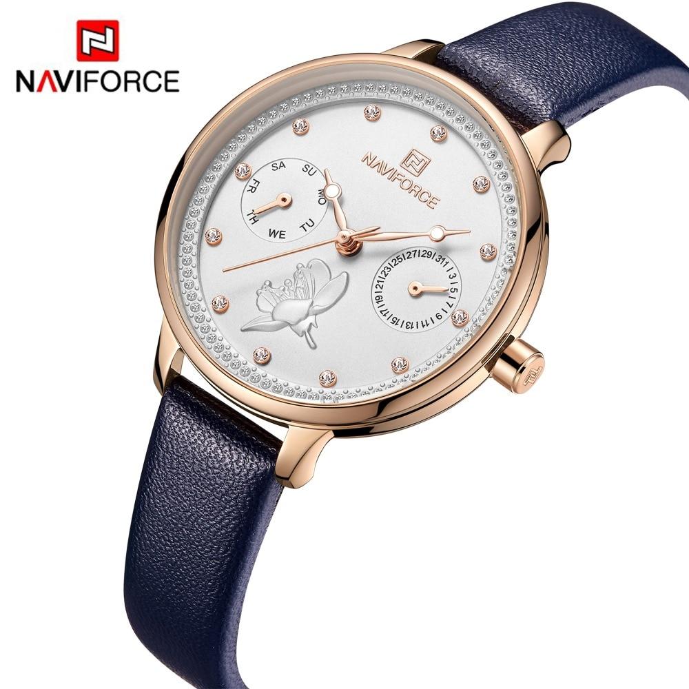 NAVIFORCE 2019 New Women Watch Fashion Blue Quartz Lady Leather Watchband Date Week Casual Waterproof Wristwatch Gift for Girl