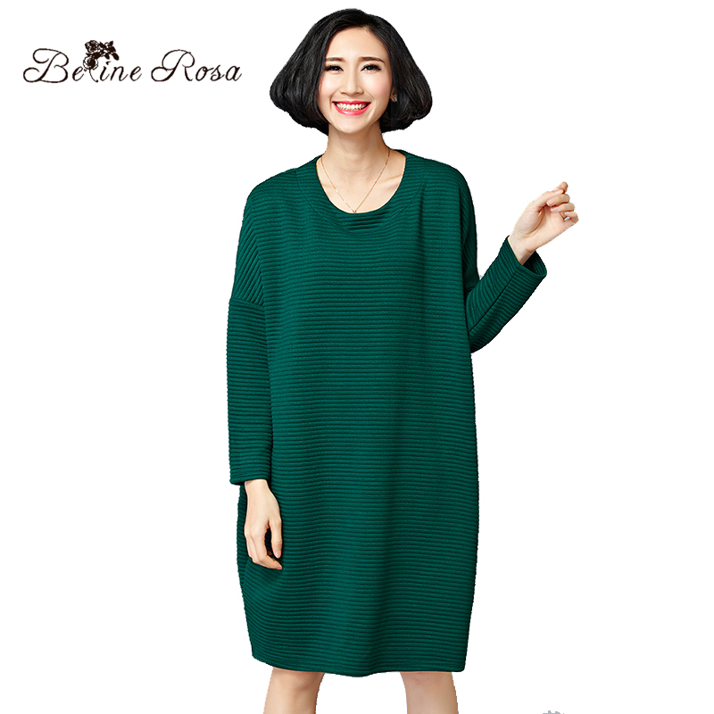 US $23.52 52% OFF BelineRosa Women Casual Dress Winter England Style  Striped Veined Pure Color Plus Size Dress Fit 50~80 KG Weight HS000391-in  Dresses ...
