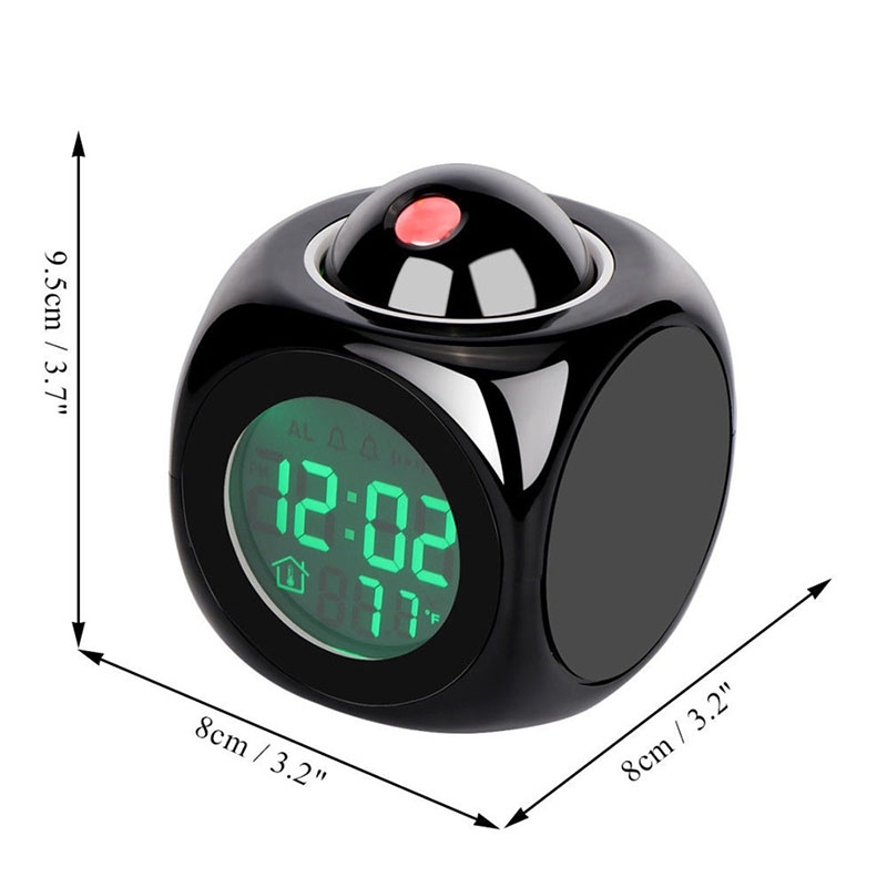 Projection Alarm Clock Night Lights Temperature Digital Time Voice Snooze Multifunction Display Home Table Bedsides Bedroom Lamp