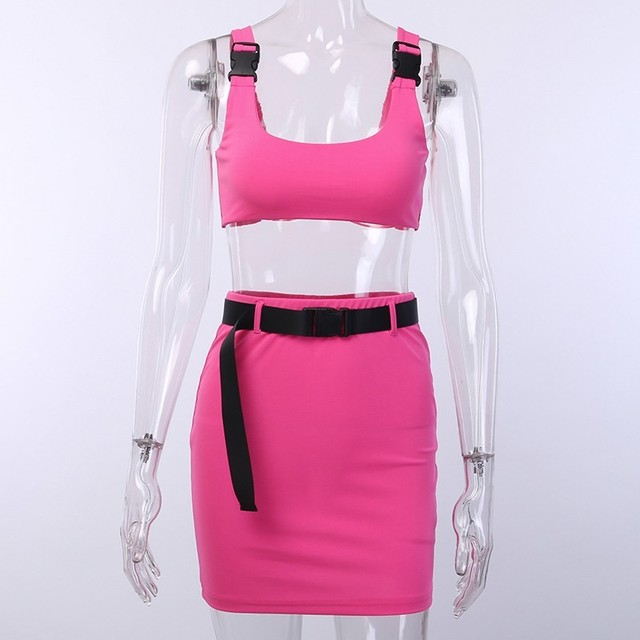 Women 2 Pieces Sets Sexy Buckle Bralette Tank And Skirt With Belt Fashion 2019 Summer Ladies Neon Pink Cropped Top Dress Suit 5