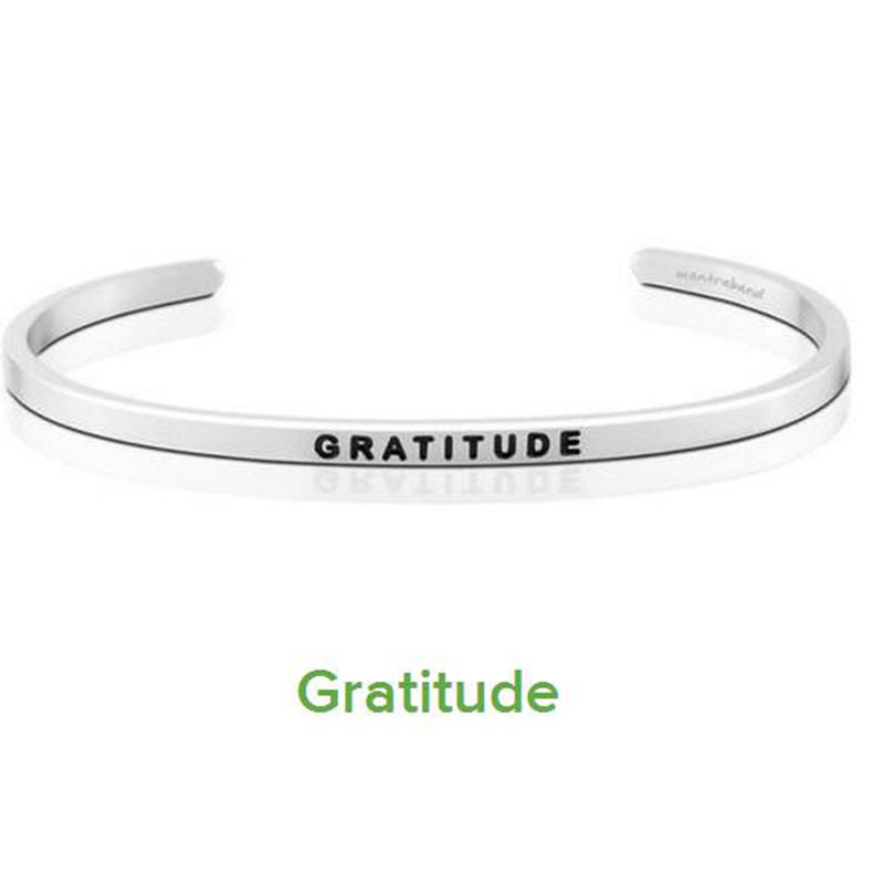 10PCS Gorgeous Stainless Steel Bar Engraved GRATITUDE Positive Inspirational Quote Cuff Bracelet Bangle For women Men