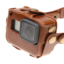 Leather Protective Case Bag With Shoulder Neck Strap For Gopro Hero 6 Hero 5 Black Hero5 Edition Cover