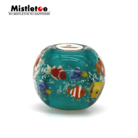 925 Sterling Silver Large Hole Colorful 3D Animals Fish Ocean Murano Glass Charm Bead Fit European