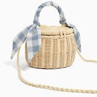 AUAU-женская сумка-ведро шарфы Соломенная пляжная сумка с крышкой плетеная мини-корзина сумки через плечо
