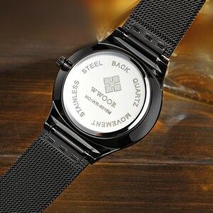 Image 5 - Men Watches Top Brand Luxury WWOOR Simple Slim Date Quartz Watch Men Wristwatch Business 블랙메쉬 남성 Watch Relogio Masculino
