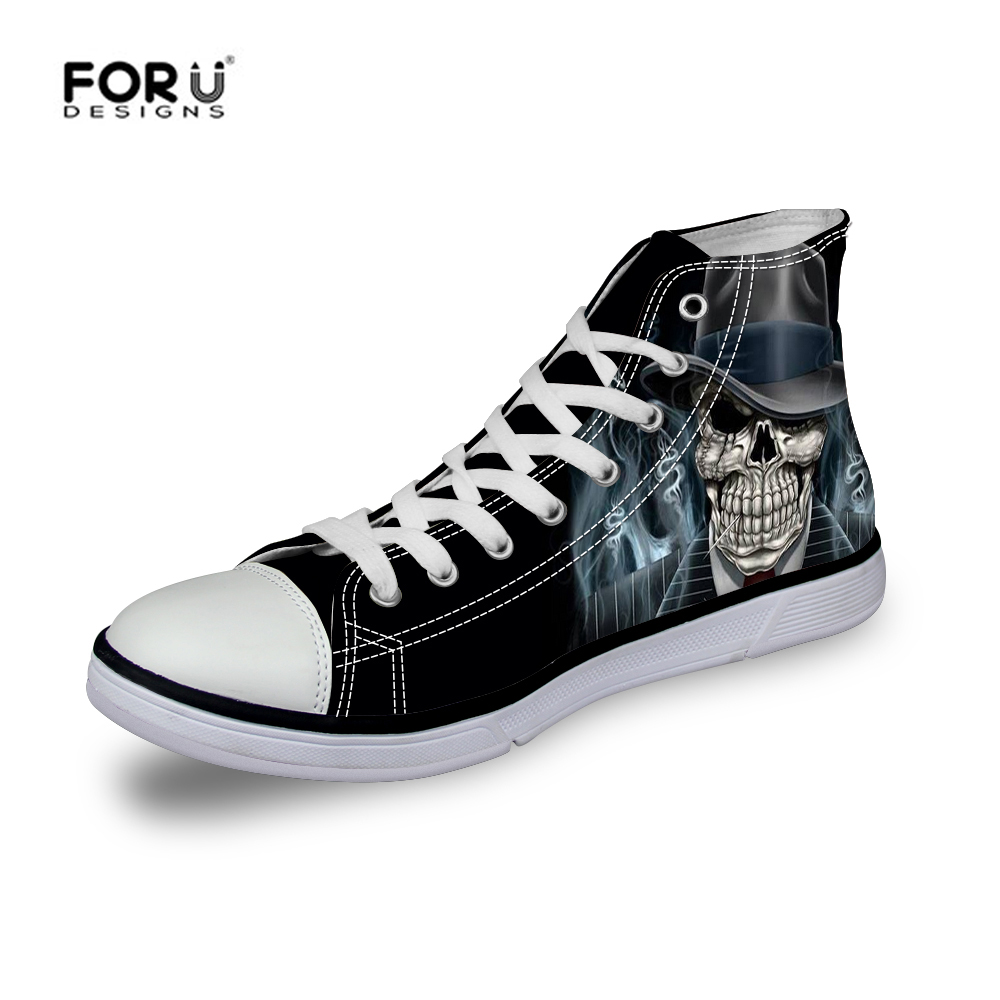 804a147aa730 FORUDESUGNS Brand Hot Men Breathable Cloth Casual Shoes Cool Skull Print  Male Footwear Canvas Shoes Comfortable Zapatos Hombre