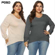 PGSD New Simple Solid Fashion big size Women Clothes Autumn winter V-collar adjustable long sleeve O-Neck T-shirt female Top Tee