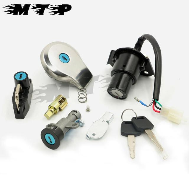 Motorcycle Key set 4 Wire Fuel Gas Cap Key full Set Ignition Switch Lock with 1 spare key for Yamaha XV250 VIRAGO 250 1988-2013