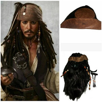 Pirates of the Caribbean Captain Cosplay Jack Wig Headband anime Hat Headwear for Halloween Carnival Party
