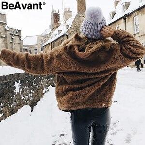 Image 5 - BeAvant Lamb wool winter women teddy fur coat warm Trendy furry pink lady coat jacket Pocket short faux fur coat outerwear 2019