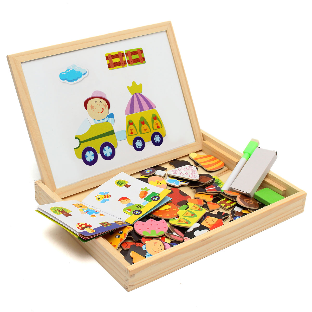 New-Arrival-Drawing-Writing-Board-Magnetic-Board-Puzzle-Double-Easel-Kid-Wooden-Toy-Gift-Children-Intelligence-Development-Toy-2