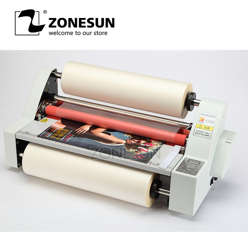 ZONESUN 13V350 Laminator Four Rollers Hot Roll Laminating Machine temperature control single and sided a heating modeZONESUN 13V350 Laminator Four Rollers Hot Roll Laminating Machine temperature control single and sided a heating mode