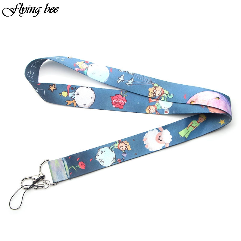 Flyingbee The Little Prince Cartoon Cute Keychain Lanyard For Keys Phone ID Name Tag DIY Hang Rope Key Ring Gifts X0071