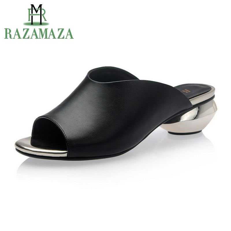 RAZAMAZA Size 32-42 Women High Heel Sandals Open Toe Slip On Strange Heel Real Leather Women Sandals For Vacation Daily Footwear fashionable pu leather and stiletto heel design sandals for women