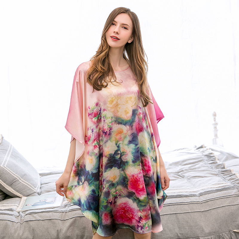 Summer 100% Real Silk Nightgowns For Women Loose Flower Print Smooth Natural Silk Night Dress Ladies