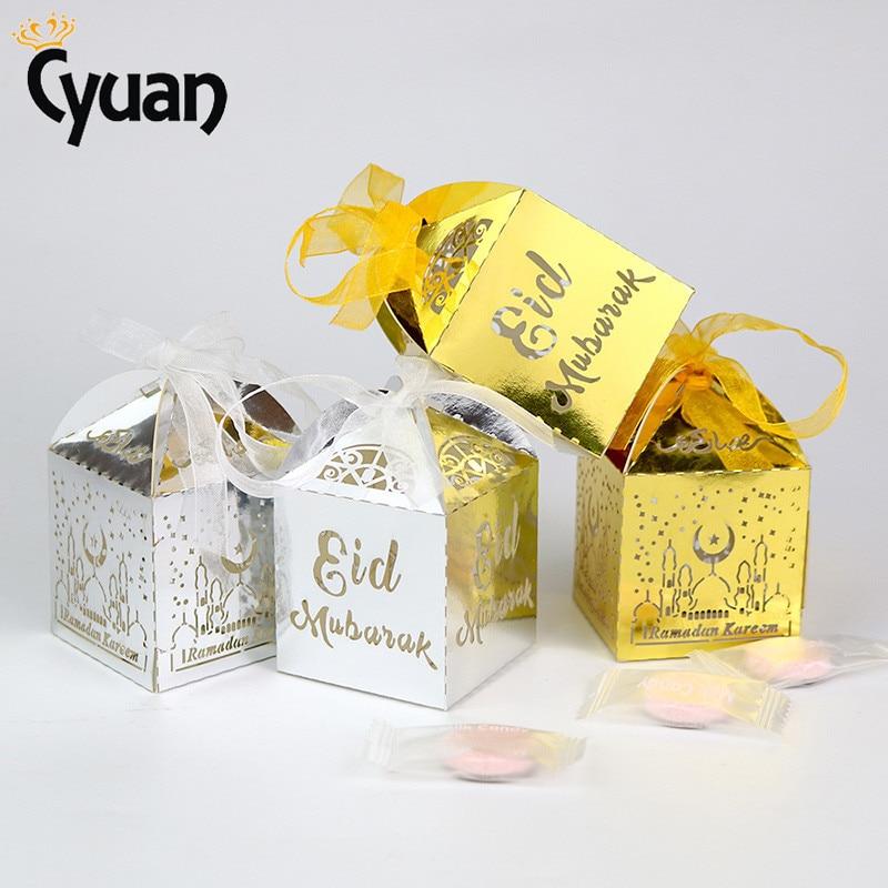 Home & Garden 10pcs Eid Mubarak Candy Gift Box Ramadan Decorations Islamic Party Diy Decoration Cardboard Box Dragee Box Packaging With Ribbon