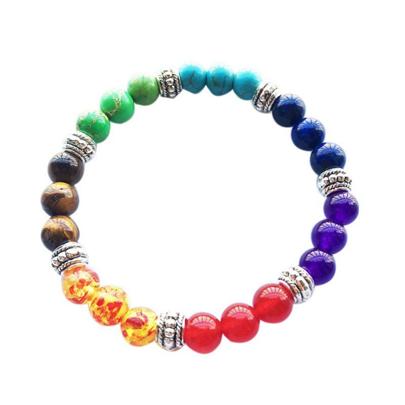 Volcanic Stone Colorful Beads Bracelet Golden / Silver Healing Colorful Unisex Bracelets For Women Men Elastic Force Jewelry