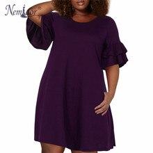 цена Nemidor Women Vintage Ruffles Sleeve O-neck 50s Party Stretchy A-line Dress Plus Size 7XL 8XL 9XL Casual Swing Dress With Pocket