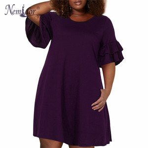 Image 3 - Nemidor Women Vintage Ruffles Sleeve O neck 50s Party Stretchy A line Dress Plus Size 7XL 8XL 9XL Casual Swing Dress With Pocket