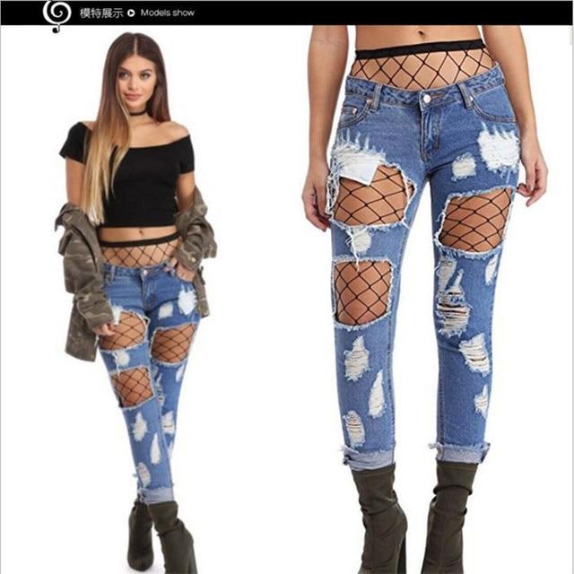 765ddc4e8 Nuevo estilo de Moda mujer Pantalones Vaqueros Mediados de Cintura  estiramiento jean Mano usar Jeans Rasgados