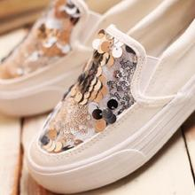 Autumn Fashion Female Casual Sequin Canvas Shoes Breathable Thick Bottom Slip-on Women Shoes Flat Platform Single Women Shoes