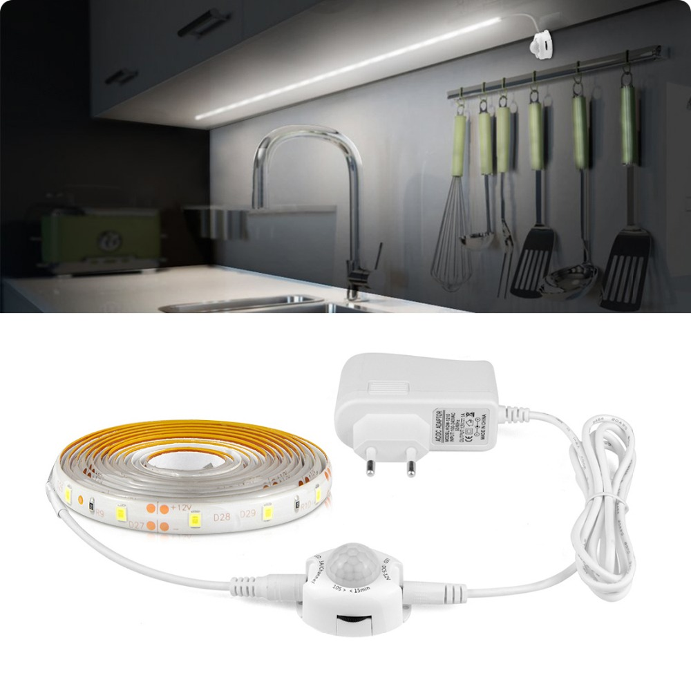 Eu Us Plug Dc12v Led Cabinet Light Pir Motion Sensor Strip 2835 Under Bed Lamp Ruban Tape Corridor Kitchen Stairs Decoration