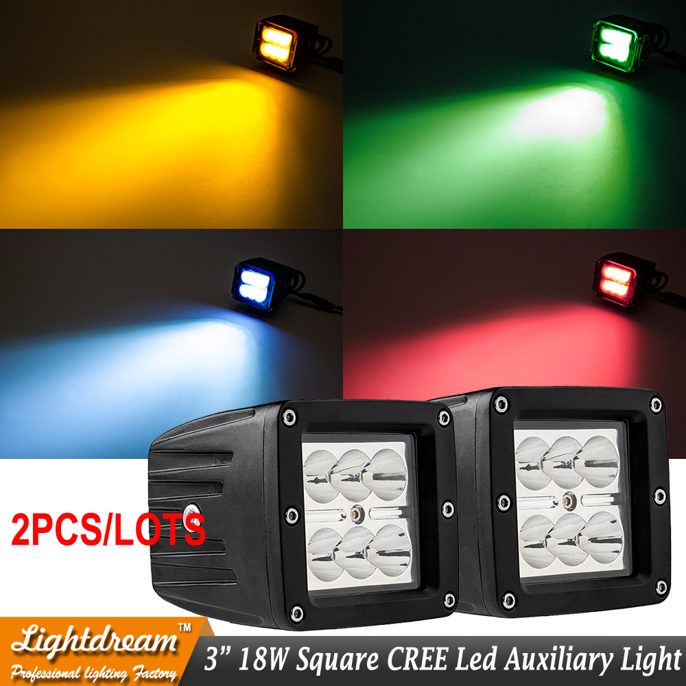3inch Square 18W Flood Spot beam LED Work Light Car Truck Boat Driving Fog SUV 4WD Tractor lamps Red Blue Green white light x2pc