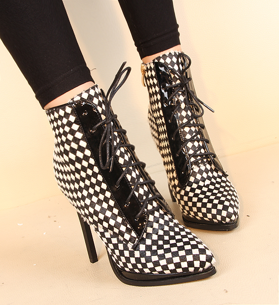 ФОТО 2014 fall and winter sexy pointed toe thin heels high-heeled lace stitching shoes women's Houndstooth contrast color shoes H1847